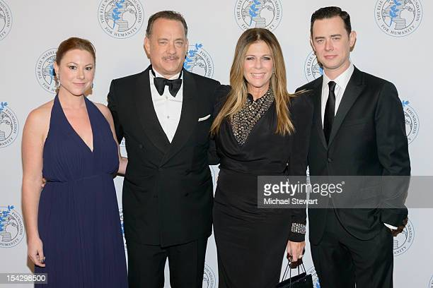 Samantha Bryant actor Tom Hanks actress Rita Wilson and actor Colin Hanks attend the 2012 Arts For Humanity Gala at New York Public Library on...