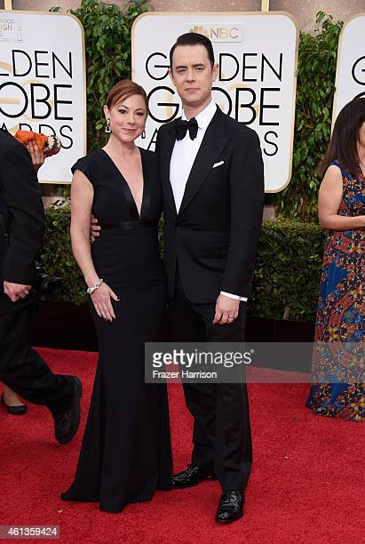 Samantha Bryant and actor Colin Hanks attend the 72nd Annual Golden Globe Awards at The Beverly Hilton Hotel on January 11 2015 in Beverly Hills...