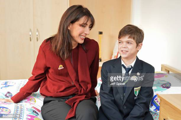 Samantha Cameron and Alonso aged 11 attend the Noah's Ark Children's Hospice event as construction begins of 'The Ark' the first children's hospice...