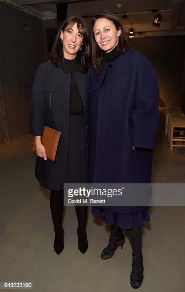 Samantha Cameron and Caroline Rush wearing Burberry attends the Burberry February 2017 Show during London Fashion Week February 2017 at Makers House...