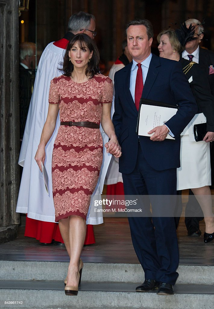 Samantha Cameron and David Cameron attend Service on the eve of the centenary of the Battle of The Somme at Westminster Abbey on June 30, 2016 in London, England.