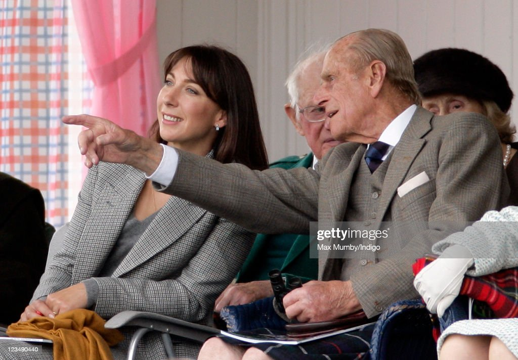 Samantha Cameron and Prince Philip, Duke of Edinburgh attend the annual Braemar Gathering and Highland Games at The Princess Royal and Duke of Fife Memorial Park on September 3, 2011 in Braemar, Scotland.
