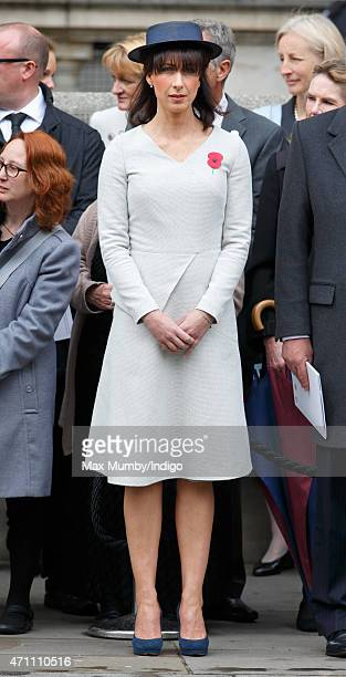 Samantha Cameron attends a wreathlaying ceremony at the Cenotaph to commemorate ANZAC Day and the Centenary of the Gallipoli Campaign on April 25...
