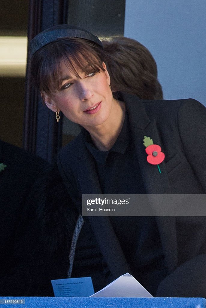 <a gi-track='captionPersonalityLinkClicked' href=/galleries/search?phrase=Samantha+Cameron&family=editorial&specificpeople=624344 ng-click='$event.stopPropagation()'>Samantha Cameron</a> attends Remembrance Sunday at the Cenotaph on Whitehall on November 10, 2013 in London, England.