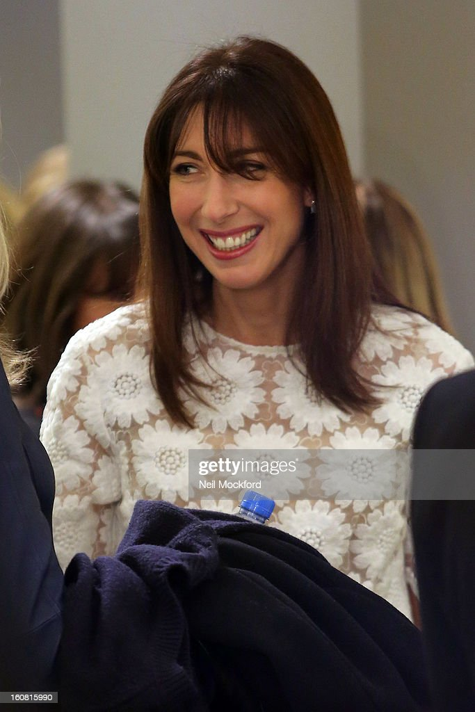 Samantha Cameron attends the Smythson of Bond Street's afternoon tea party, celebrating the opening of their new Sloane Street store on February 6, 2013 in London, England.