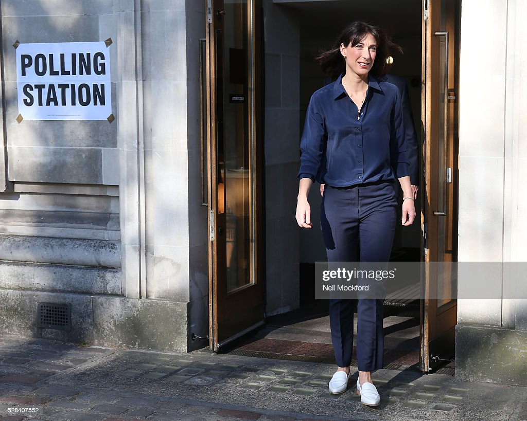 <a gi-track='captionPersonalityLinkClicked' href=/galleries/search?phrase=Samantha+Cameron&family=editorial&specificpeople=624344 ng-click='$event.stopPropagation()'>Samantha Cameron</a> casts her vote in the London Mayoral Election on May 05, 2016 in London, England. This is the fifth mayoral election since the position was created in 2000. Previous London Mayors are Ken Livingstone for Labour and more recently Boris Johnson for the Conservatives. The main candidates for 2016 are Sadiq Khan, Labour, Zac Goldsmith , Conservative, Sian Berry, Green, Caroline Pidgeon, Liberal Democrat, George Galloway, Respect, Peter Whittle, UKIP and Sophie Walker, Woman's Equality Party. Results will be declared on Friday 6th May.