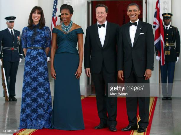Samantha Cameron First lady Michelle Obama British Prime Minister David Cameron and US President Barack Obama pose for photographs on the North...