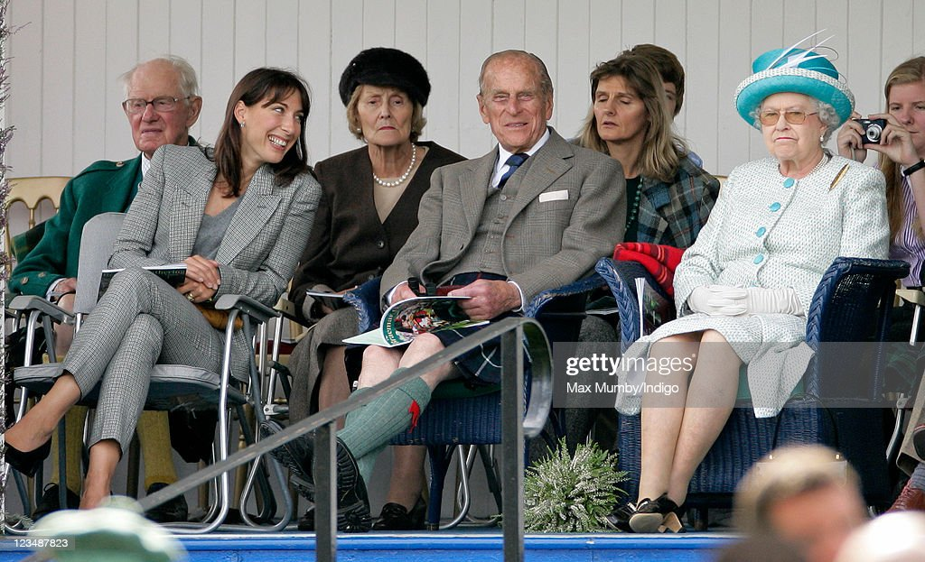 Samantha Cameron, Prince Philip, Duke of Edinburgh and Queen Elizabeth II attend the annual Braemar Gathering at The Princess Royal and Duke of Fife Memorial Park on September 3, 2011 in Braemar, Scotland.