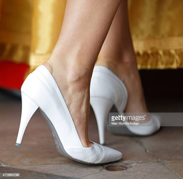 Samantha Cameron shoe detail attends a Service of Thanksgiving to mark the 70th Anniversary of VE Day at Westminster Abbey on May 10 2015 in London...