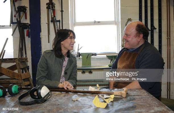 Samantha Cameron the wife of Conservative Party Leader David Cameron talks with David a beneficiary of the Caring For Life charity in the wood...