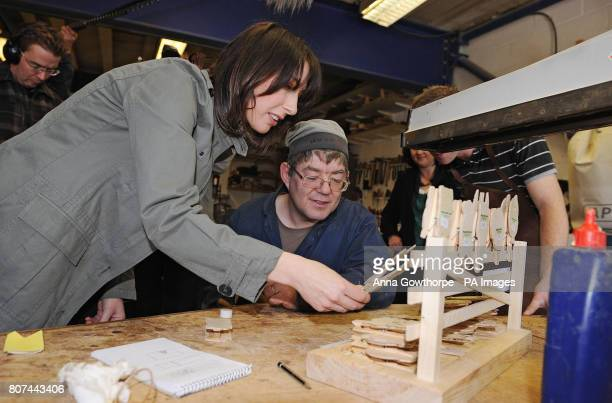Samantha Cameron the wife of Conservative Party Leader David Cameron talks with Antony a beneficiary of the Caring For Life charity in the wood...