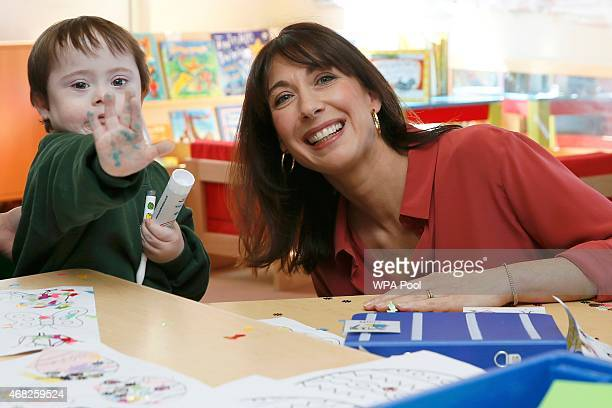 Samantha Cameron wife of British Prime Minister and leader of the Conservative Party David Cameron meets Mitchell 4 at the Abbey Court School on...