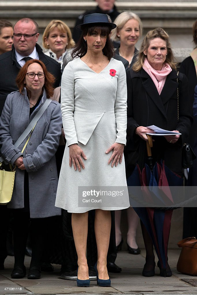 Samantha Cameron, wife of British Prime Minister David Cameron, attends a commemorative ceremony marking the centenary of the Gallipoli campaign on April 25, 2015 in London, England. The Gallipoli land campaign, in which a combined Allied force of British, French, Australian, New Zealand and Indian troops sought to occupy the Gallipoli peninsula and the strategic Dardanelles strait during World War I, began on April 25, 1915 against Turkish forces of the Ottoman Empire. The Allies, unable to advance more than a few kilometers, withdrew after eight months. The campaign cost the Allies approximately 45,000 killed and up to 200,000 wounded, the Ottomans approximately 85,000 killed and 160,000 wounded.