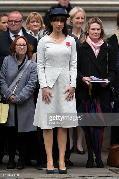 Samantha Cameron wife of British Prime Minister David Cameron attends a commemorative ceremony marking the centenary of the Gallipoli campaign on...