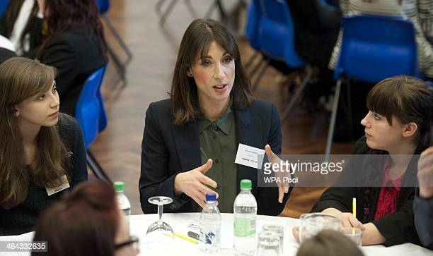 Samantha Cameron wife of British Prime Minister David Cameron talks to sixth form girls at a Career Speed Networking and Careers fair at Basildon...