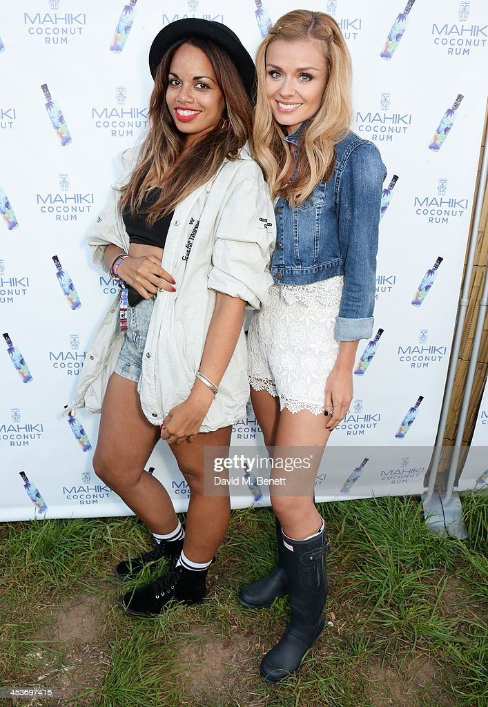 Samantha Clark (L) and <a gi-track='captionPersonalityLinkClicked' href=/galleries/search?phrase=Katherine+Jenkins&family=editorial&specificpeople=204776 ng-click='$event.stopPropagation()'>Katherine Jenkins</a> attend the Mahiki Rum Bar for the launch of the Mahiki Rum Family backstage during day 1 of the V Festival 2014 at Hylands Park on August 16, 2014 in Chelmsford, England.