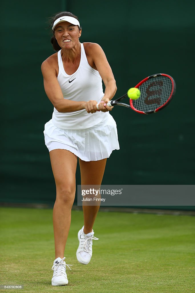 <a gi-track='captionPersonalityLinkClicked' href=/galleries/search?phrase=Samantha+Crawford&family=editorial&specificpeople=8811293 ng-click='$event.stopPropagation()'>Samantha Crawford</a> of the United States plays a backhand during the Ladies Singles first round match against Paula Kania on day one of the Wimbledon Lawn Tennis Championships at the All England Lawn Tennis and Croquet Club on June 27th, 2016 in London, England.