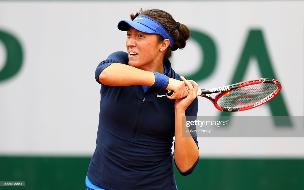 <a gi-track='captionPersonalityLinkClicked' href=/galleries/search?phrase=Samantha+Crawford&family=editorial&specificpeople=8811293 ng-click='$event.stopPropagation()'>Samantha Crawford</a> of the United States plays a forehand during the Women's Singles first round match against Timea Babos of Hungary on day three of the 2016 French Open at Roland Garros on May 24, 2016 in Paris, France.