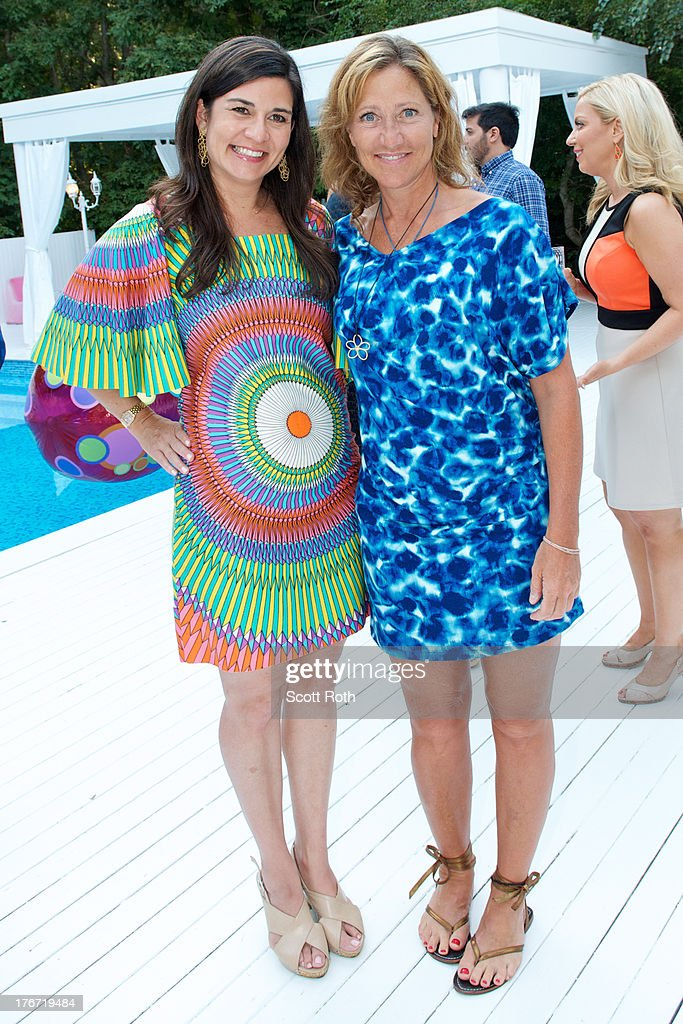 Samantha Daniels and <a gi-track='captionPersonalityLinkClicked' href=/galleries/search?phrase=Edie+Falco&family=editorial&specificpeople=202111 ng-click='$event.stopPropagation()'>Edie Falco</a> attend Celebrity Matchmaker, Samantha Daniels Hosts Cocktails For NYC Mayoral Candidate, Jack Hidary on August 17, 2013 in Wainscott, New York.