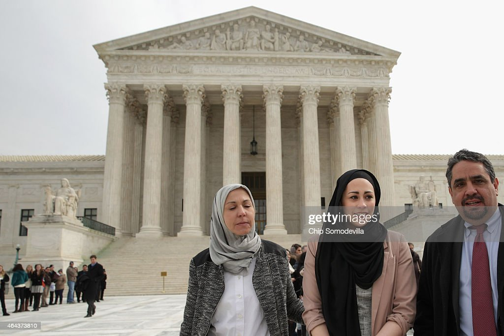 Samantha Elauf (C), her mother Majda Elauf (L) of Tulsa, Oklahoma, and Equal Employment Opportunity Commission General Counsel David Lopes leave the U.S. Supreme Court after the court heard oral arguments in EEOC v. Abercrombie & Fitch February 25, 2015 in Washington, DC. Elauf filed a charge of religious discrimination with the EEOC saying Abercrombie & Fitch violated discrimination laws in 2008 by declining to hire her because she wore a head scarf, a symbol of her Muslim faith.