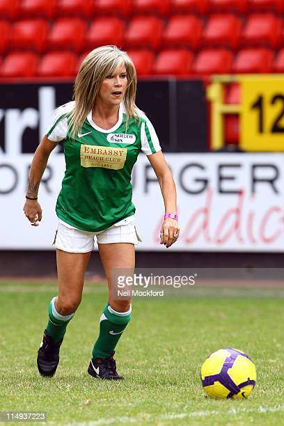 Samantha Fox attends the 'Soccer Six' football tournament at Charlton Athletic FC at Charlton Athletic FC on May 30 2011 in London England