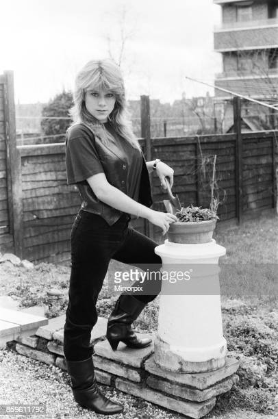 Samantha Fox contestant Miss Sunday People competition aged 16 years old pictured at home in garden January 1983