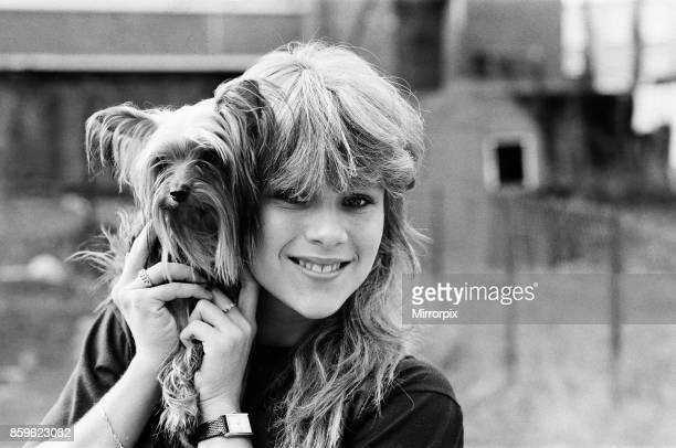 Samantha Fox contestant Miss Sunday People competition aged 16 years old pictured with pet dog at home January 1983