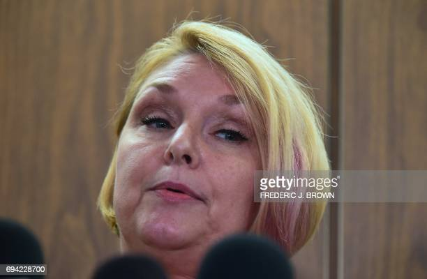Samantha Geimer addresses the media outside the courtroom in Los Angeles California on June 9 2017 Geimer raped by filmmaker Roman Polanski as a...