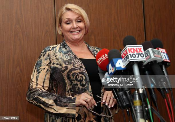 Samantha Geimer speaks during a press conference after appearing in court at the Clara Shortridge Foltz Criminal Justice Center on June 9 2017 in Los...