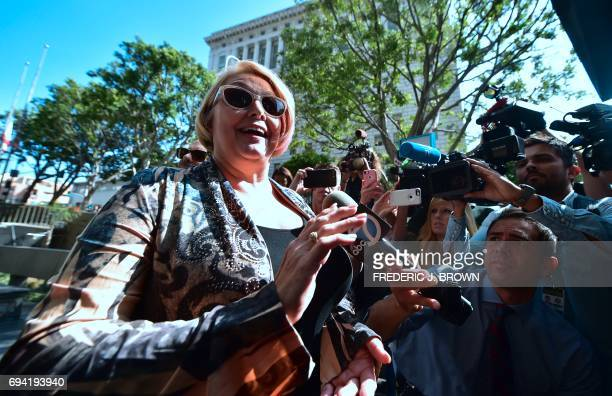 TOPSHOT Samantha Geimer speaks to the press before entering the courthouse in Los Angeles California on June 9 2017 Geimer is expected to ask the...