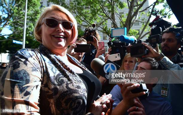 Samantha Geimer speaks to the press before entering the courthouse in Los Angeles California on June 9 2017 Geimer is expected to ask the court to...