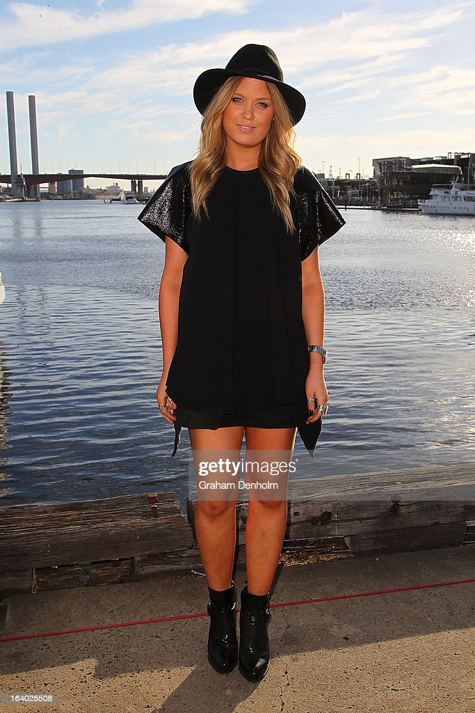 Samantha Goss wears a top by Ellery, shoes by Zara, hat by Topshop and vintage skirt on day two at L'Oreal Melbourne Fashion Festival on March 19, 2013 in Melbourne, Australia.