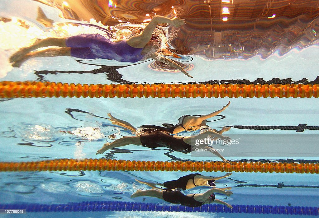 Samantha Hamill, Madelin Groves and Nicole Mee of Australia compete in the Women's 200 Metre Butterfly during day five of the Australian Swimming Championships at SA Aquatic and Leisure Centre on April 30, 2013 in Adelaide, Australia.