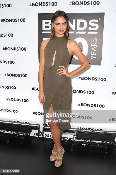 Samantha Harris poses during Bonds 100th birthday celebration event at Cafe Sydney on August 19 2015 in Sydney Australia