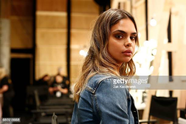 Samantha Harris prepares backstage ahead of MercedesBenz Fashion Week Weekend Edition at Carriageworks on May 20 2017 in Sydney Australia