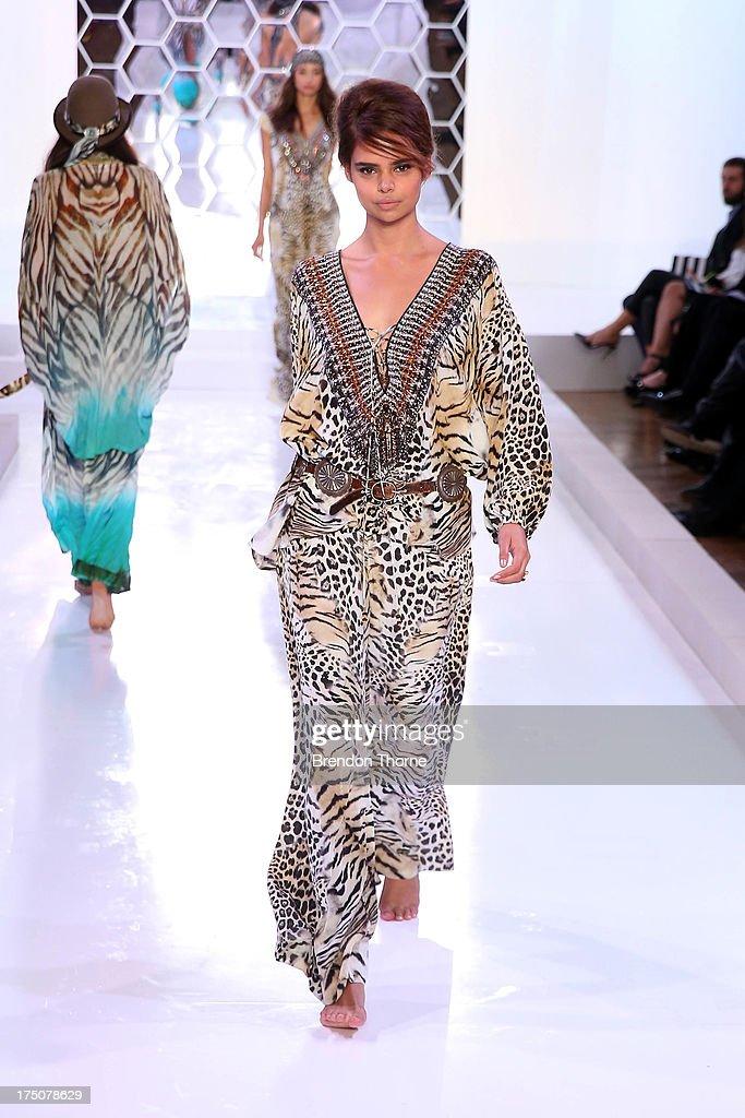 Samantha Harris showcases designs by Camilla at the David Jones Spring/Summer 2013 Collection Launch at David Jones Elizabeth Street on July 31, 2013 in Sydney, Australia.