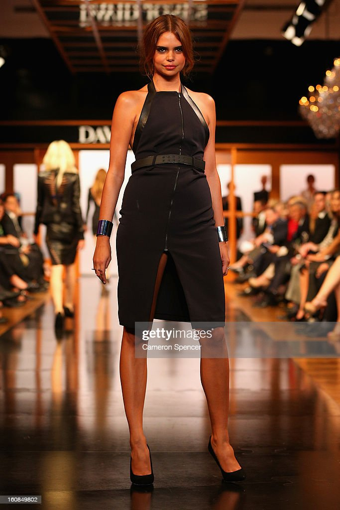 Samantha Harris showcases designs by Dion Lee on the runway during the David Jones A/W 2013 Season Launch at David Jones Castlereagh Street on February 6, 2013 in Sydney, Australia.