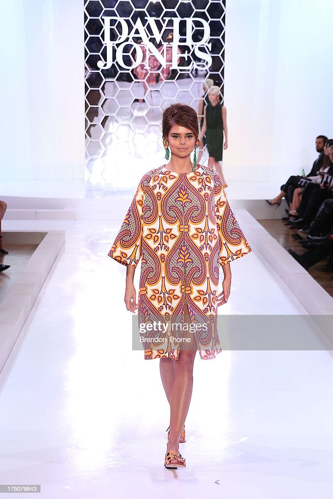 Samantha Harris showcases designs by Easton Pearson at the David Jones Spring/Summer 2013 Collection Launch at David Jones Elizabeth Street on July 31, 2013 in Sydney, Australia.