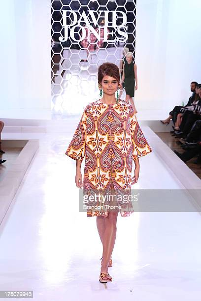 Samantha Harris showcases designs by Easton Pearson at the David Jones Spring/Summer 2013 Collection Launch at David Jones Elizabeth Street on July...