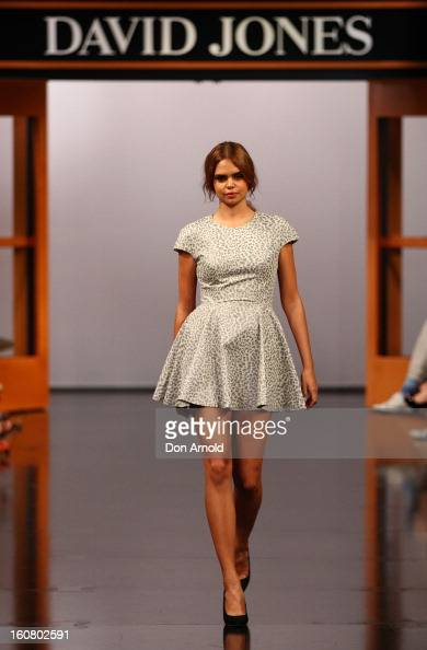 Samantha Harris showcases designs by Lover during the David Jones A/W 2013 Season Launch at David Jones Castlereagh Street on February 6 2013 in...