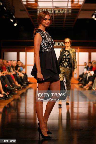 Samantha Harris showcases designs by Thurley on the runway during the David Jones A/W 2013 Season Launch at David Jones Castlereagh Street on...