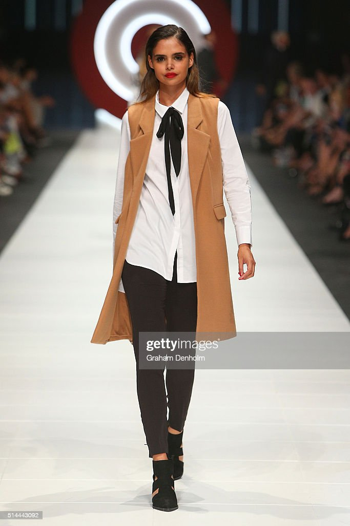 Samantha Harris showcases designs during the Jean Paul Gaultier x Target show during Melbourne Fashion Festival on March 9, 2016 in Melbourne, Australia.
