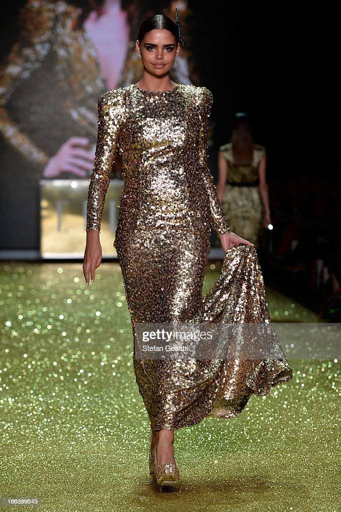 Samantha Harrisl showcases designs by Zhivago on the runway at the Hello Elle Australia show during Mercedes-Benz Fashion Week Australia Spring/Summer 2013/14 at Carriageworks on April 12, 2013 in Sydney, Australia.