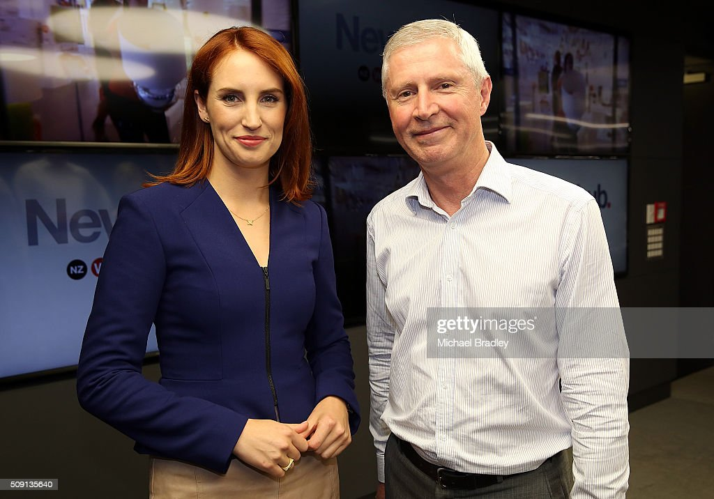 Samantha Hayes and Mark Jennings pose at the launch of Newshub, MediaWorks new cross-platform news service on February 9, 2016 in Auckland, New Zealand.