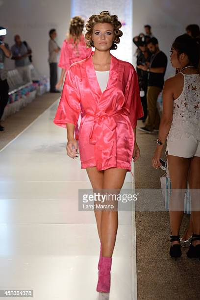 Samantha Hoopes is sighted on the runway at the Beach Bunny show during MercedesBenz Fashion Week Swim 2015 on July 18 2014 in Miami Florida