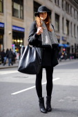 Samantha Hutchinson Fashion blogger attends the Kimberly Ovitz show wearing Hat Attack Joie jacket and Celine bag on February 7 2013 in New York City