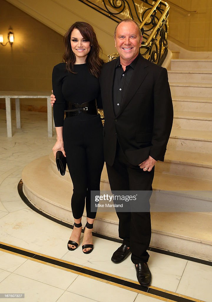 Samantha Jane Barks and Michael Kors attend a Vogue dinner hosted by Alexandra Shulman in honour of Michael Kors at Cafe Royal on April 25, 2013 in London, England.