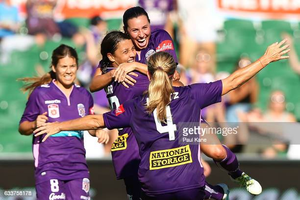 Samantha Kerr and Vanessa DiBernardo of the Glory celebrate a goal during the WLeague Semi Final match between the Perth Glory and Sydney FC at nib...
