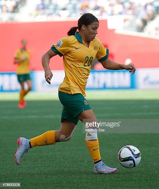 Samantha Kerr of Australia against Nigeria during the FIFA Women's World Cup Canada 2015 match between Australia and Nigeria at Winnipeg Stadium on...