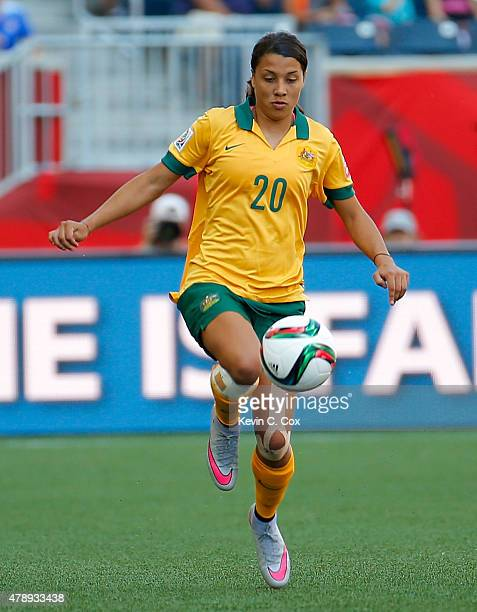 Samantha Kerr of Australia against Nigeria during the FIFA Women's World Cup Canada 2015 match between Australia and Nigeria at Winnipeg Stadium on...